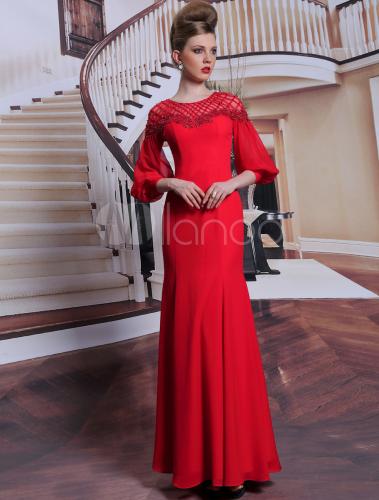 elegantes abendkleid in rot mit langen rmeln. Black Bedroom Furniture Sets. Home Design Ideas