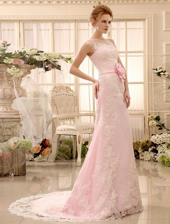 Rosa Spitze Etui-Brautkleid mit Blumen-Deko und abnehmbarer Schleppe ...