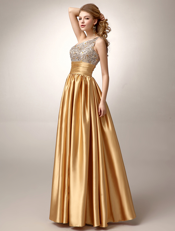 Gold One Shoulder Pleated Satin Prom Dress Milanoo Com