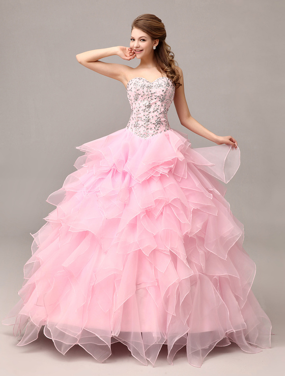 pink prom dresses 2017 long organza tiered ruffles