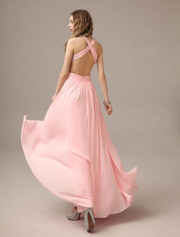 r ckenfreies prom kleid aus chiffon mit tr gern in rosa. Black Bedroom Furniture Sets. Home Design Ideas