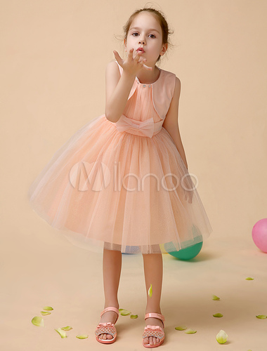 cute orange a line jewel neck knee length bow flower girl dress. Black Bedroom Furniture Sets. Home Design Ideas