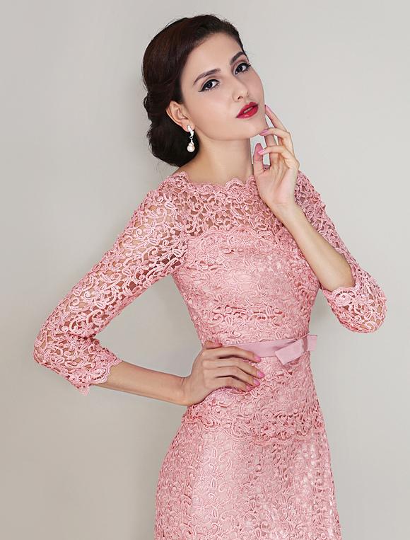 Lang rmeliges abendkleid aus spitze in rosa - Milanoo abendkleider ...