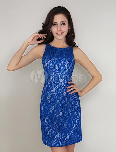 Robe demoiselle d 39 honneur courte bleue royale avec for Robe bleue royale pour mariage