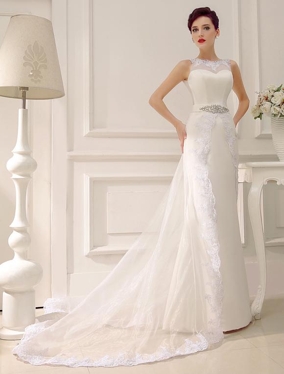 Robe de mariée en organza ivoire avec ceinture strass et dentelle de ...