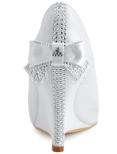 chaussures de mariage talon compens en satin avec noeud bout ouvert no - Chaussure Mariage Compense