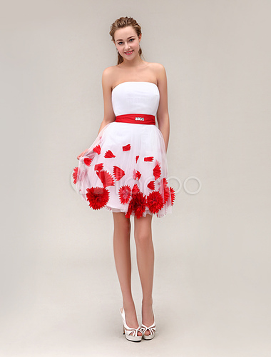 Robe bustier rouge et blanc