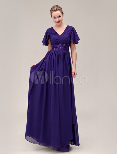 Abendkleid aus chiffon in k niglicher purpur for Milanoo abendkleider