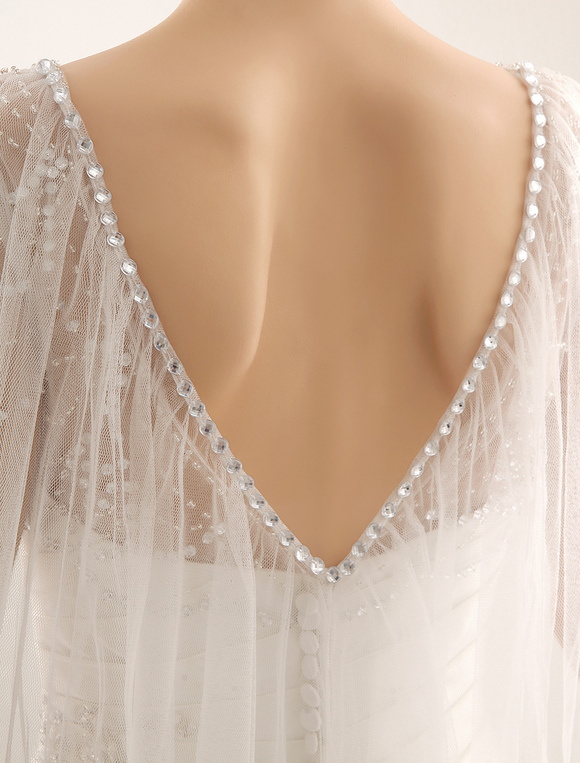 Exquisite Beaded Sheer Neckline Short Sleeve Wedding Dress