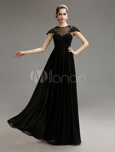 Abendkleid aus chiffon mit spitzen in schwarz milanoo for Milanoo abendkleider