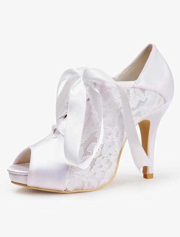 chaussures de mariage en soie et satin avec noeud lacet. Black Bedroom Furniture Sets. Home Design Ideas