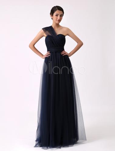 robe demoiselle d 39 honneur en tulle bleu marine fonc. Black Bedroom Furniture Sets. Home Design Ideas