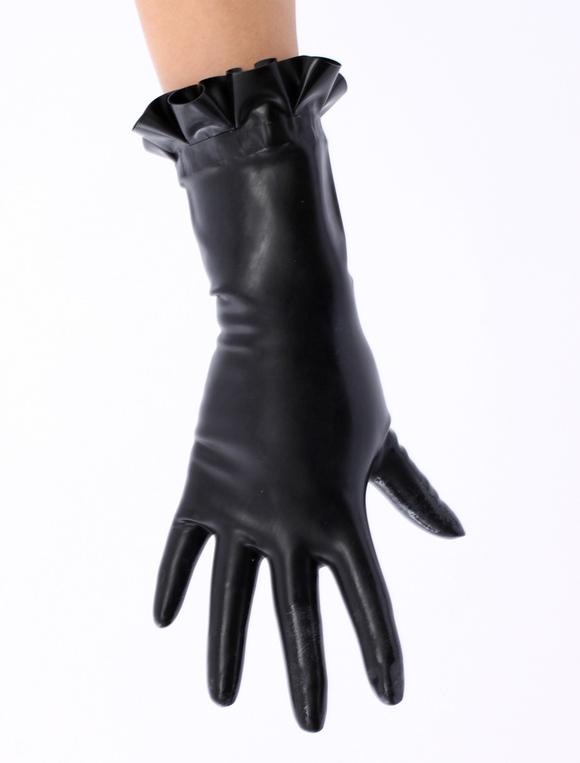 Black ruffled trim latex gloves milanoo com