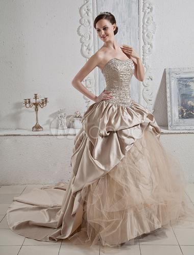 robe de mari e bustier champagne brod e encolure en coeur. Black Bedroom Furniture Sets. Home Design Ideas