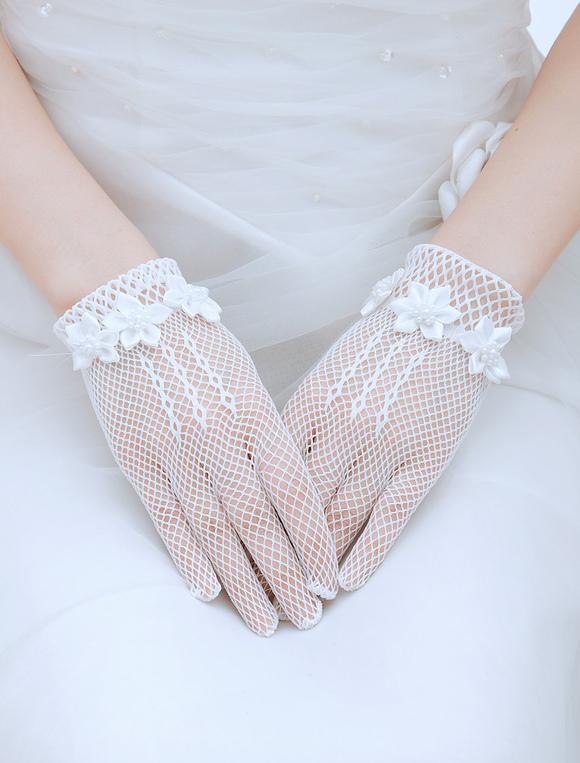 ブライダル : ブライダル グローブ フィンガーレス : White Wedding Gloves