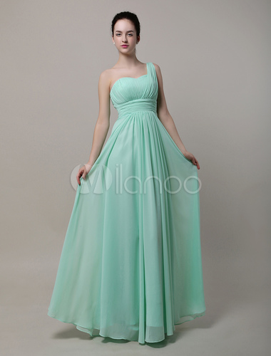 robe demoiselle d 39 honneur a ligne chiffon vert une paule. Black Bedroom Furniture Sets. Home Design Ideas