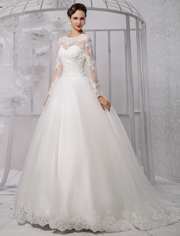 Robe de mariée princesse tulle ivoire dentelle Avec traîne - Milanoo ...