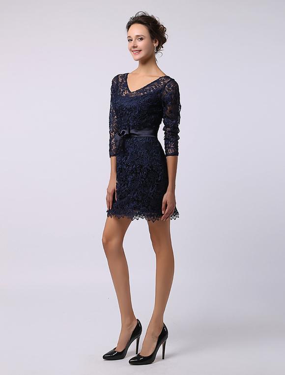 robe soutenue demoiselle d 39 honneur fourreau bleu marine fonc dentelle. Black Bedroom Furniture Sets. Home Design Ideas