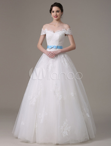 Ivory Wedding Dress Off The Shoulder Sash Tulle Lace Wedding Gown Milanoo