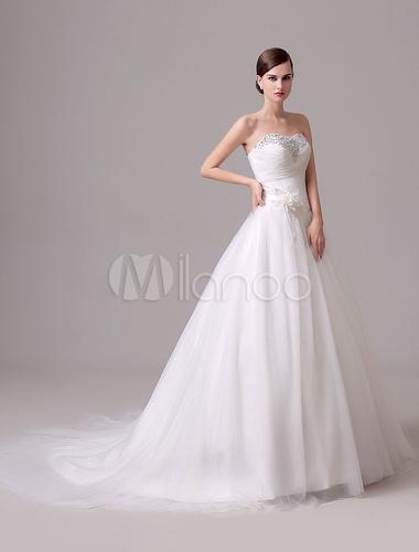Mariage Ivoire robe bustier dos nu fleurs strass Tulle robe de mariée ...