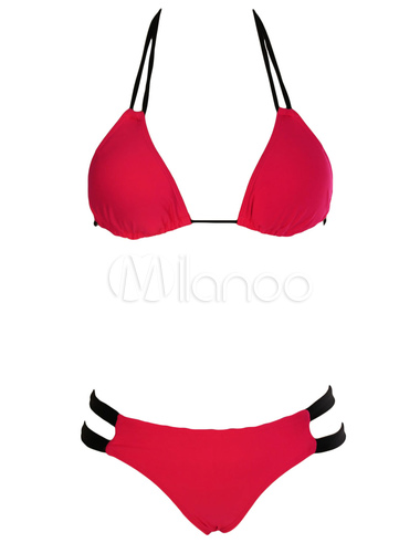 Traje De Baño Rojo Pelicula:Rojo correas Nylon moda traje de baño para las mujeres – Milanoocom