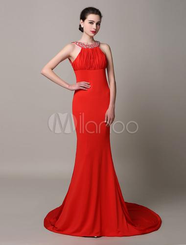 Rot r ckenfreies satin chiffon plissee abendkleid mit zug for Milanoo abendkleider