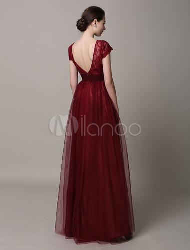 Burgunder marone lace r ckenfreies abendkleid for Milanoo abendkleider