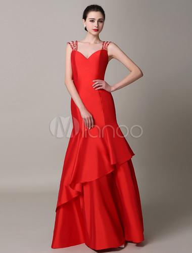 Rot r ckenfreie mermaid ausgeschnitten taft abendkleid - Milanoo abendkleider ...