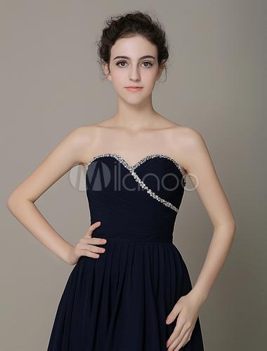 robe demoiselle d 39 honneur bleu marine fonc a ligne en satin de soie stretch pliss encolure en. Black Bedroom Furniture Sets. Home Design Ideas