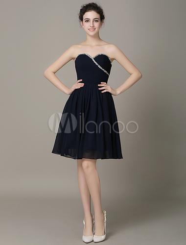 Robe demoiselle d 39 honneur bleu marine fonc a ligne en for Robes de demoiselles d honneur bleu marine mariage