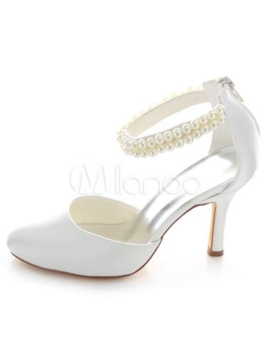 wei e braut sandalen perlen satin hochzeit heels f r. Black Bedroom Furniture Sets. Home Design Ideas