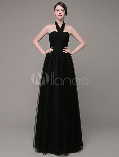 Schwarz abendkleid neckholder ausschnitt a linie t ll for Milanoo abendkleider