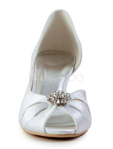 wei e peep toe braut sandalen strass satin hochzeit heels. Black Bedroom Furniture Sets. Home Design Ideas