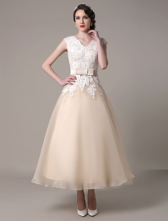 Champagne wedding dress a line v neck lace applique for Champagne tea length wedding dresses