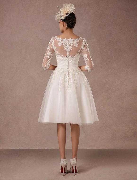 Hochzeitskleid Kurz Vintage Spitze lange Ärmel a-Linie Tüll ...