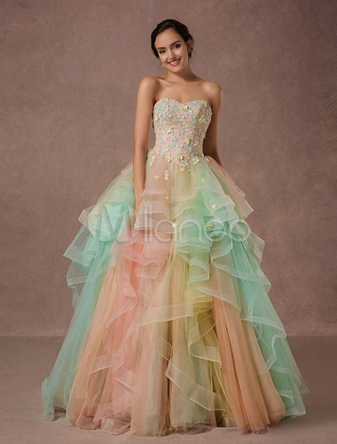 Rainbow quinceanera dress tulle lace pageant dress applique beading a