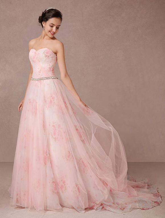 impresiones de rosa flores vestido de novia de tul vestido. Black Bedroom Furniture Sets. Home Design Ideas