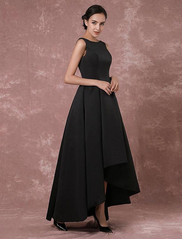 Schwarzes abendkleid taft high low r ckenfreie plissee kleid - Plissee kleid lang ...