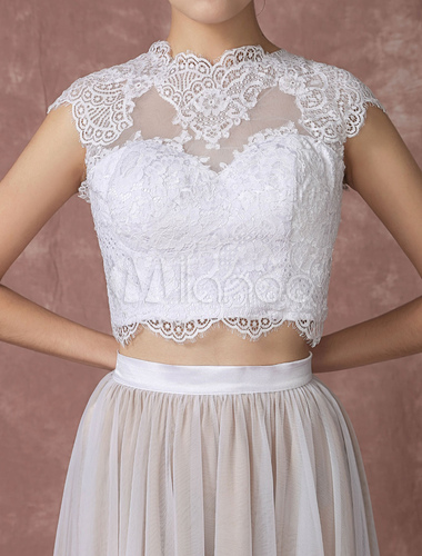 crop top lace wedding dress high low tulle bridal gown back design court train bridal dress with. Black Bedroom Furniture Sets. Home Design Ideas