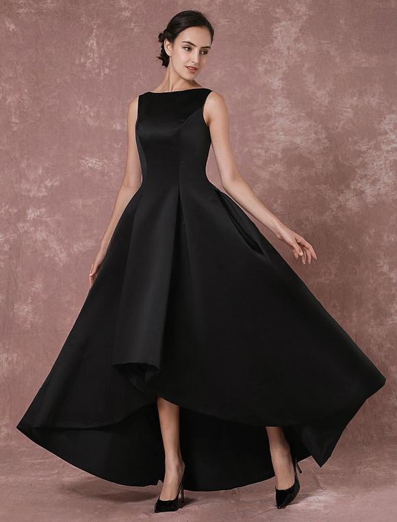 schwarzes abendkleid taft high low r ckenfreie plissee kleid. Black Bedroom Furniture Sets. Home Design Ideas
