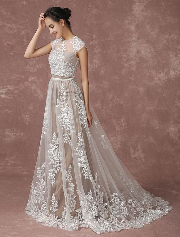 Lace Wedding Dress Beach 2 Pieces Bridal Gown Lace Shrug Illusion Neckline A Line Sleeveless
