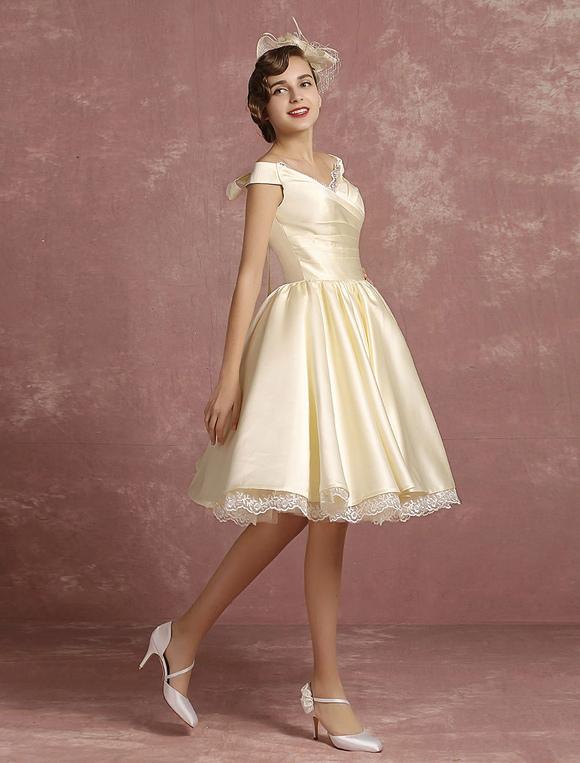 robe de mari e vintage courte satin princesse genou