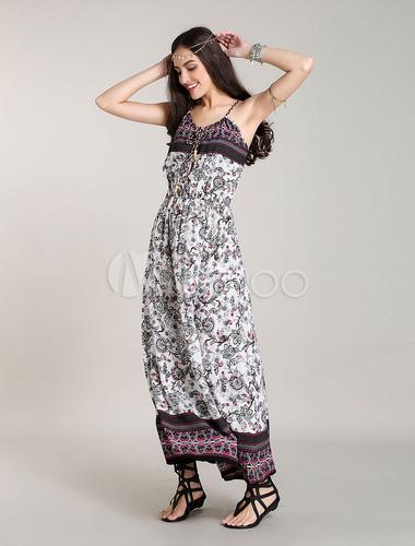 robe longue boheme en cotton maxi boho robe halter. Black Bedroom Furniture Sets. Home Design Ideas