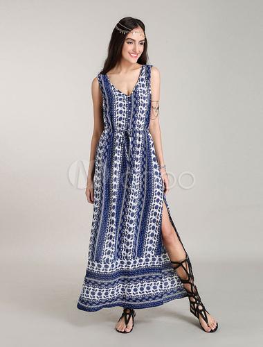 robe longue boheme robes d 39 t bleue fleurie. Black Bedroom Furniture Sets. Home Design Ideas