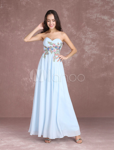 Chiffon prom dress long floral embroidered beaded