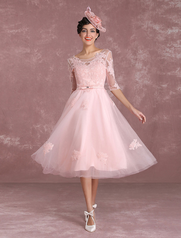 Short Wedding Dresses 2017 Vintage Soft Pink Bridal Gown ...