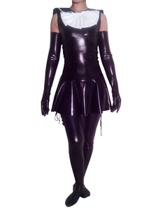 Maid Shiny Metallic Catsuit  with Shoulder Length Gloves and Stockings