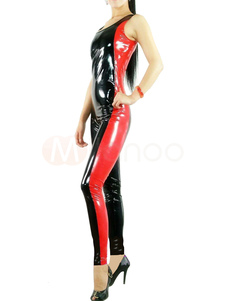 Black PVC Sleeveless Catsuit Unisex  Jumpsuit Costume