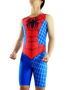 Spiderman Catsuit Half Length Sleeveless Lycra Spandex Super Hero Costume