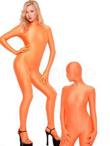 Orange Lycra Spandex Catsuit